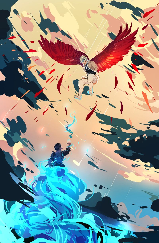 Hawks V Dabi Place Your Bets O3o Hero Wallpaper My Hero Anime Wallpaper