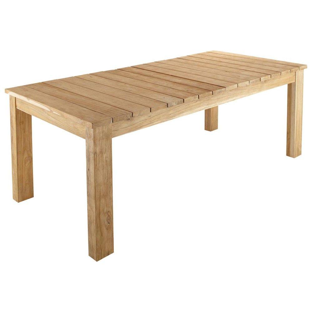 Table de jardin en teck recyclé L 220 cm | Le printemps de Maisons ...