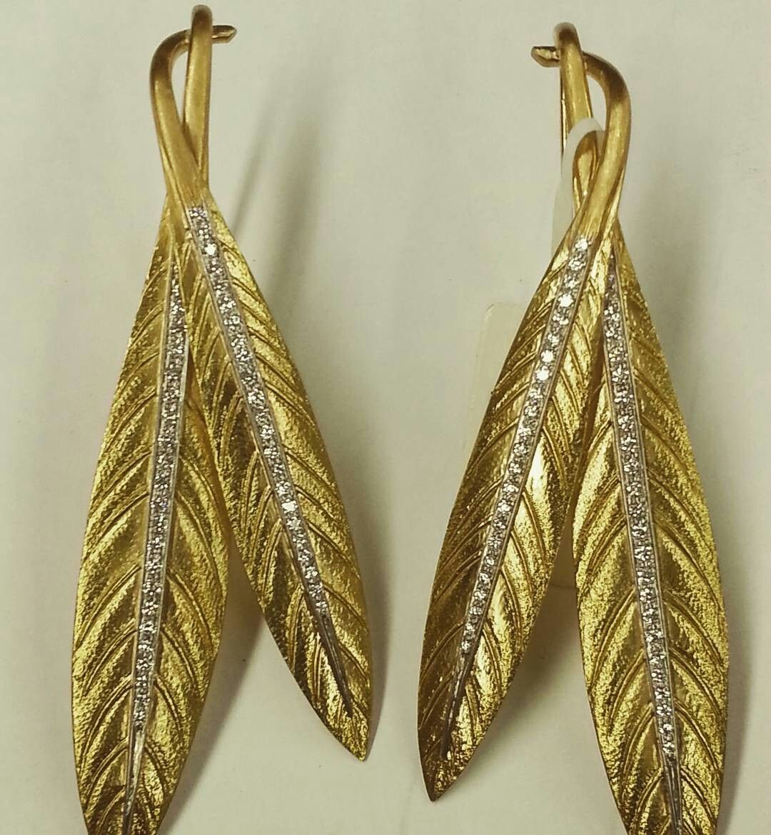 Miguelmonzon kt yellow gold leaf earrings heavy textured