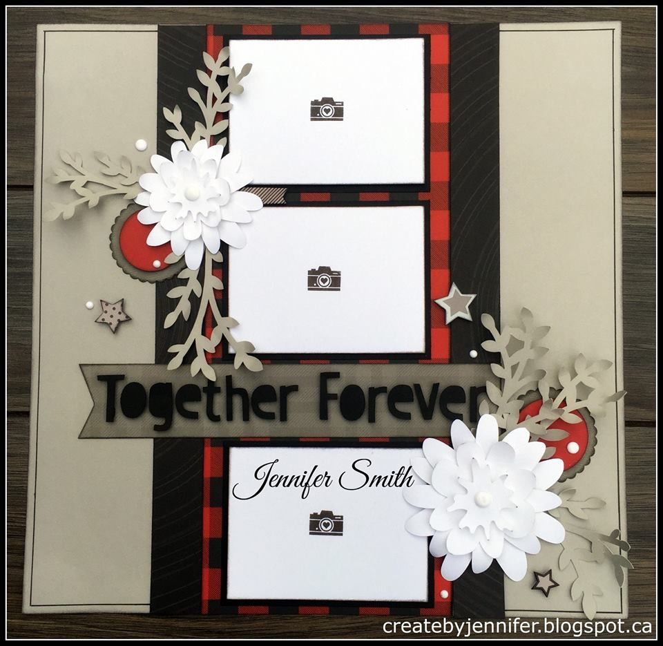 Wedding scrapbook ideas using cricut - Together Forever Layout By Jennifer Smith With Added Cricut Cut Flower Market Flowers Ctmh Ctmh Jack Layoutsscrapbook Layoutsscrapbookingwedding