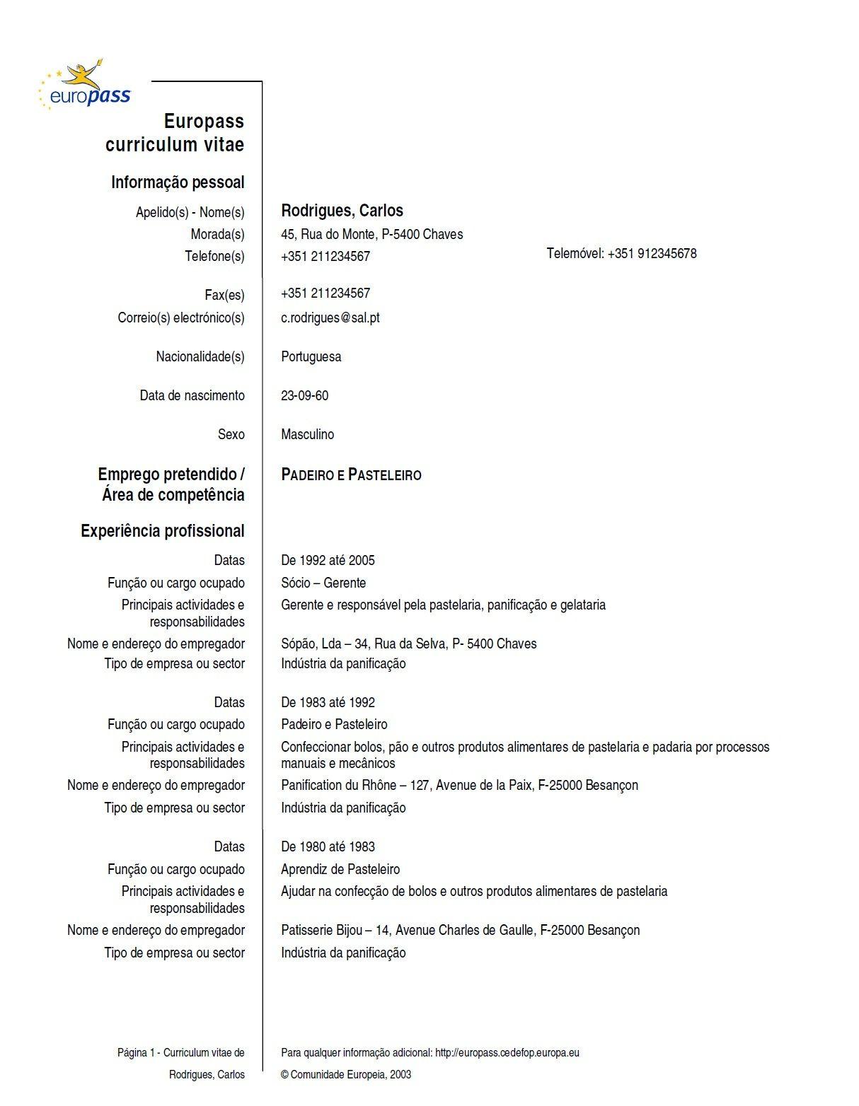 Modello X Curriculum Vitae Europeo Modelos De Curriculum Vitae
