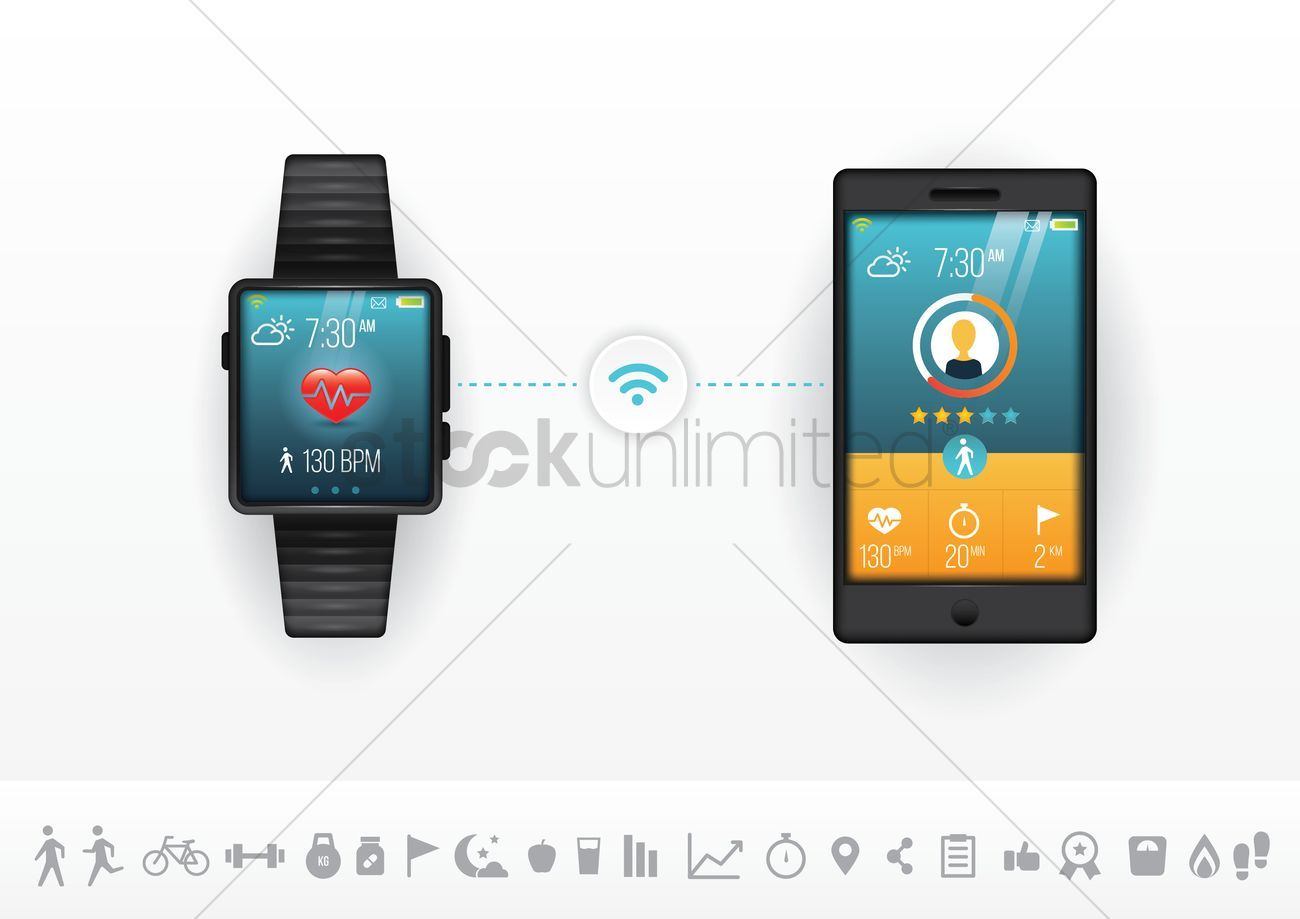 Smart phone and watch fitness concept vectors, stock clipart , #Sponsored, #watch, #fitness, #Smart,...