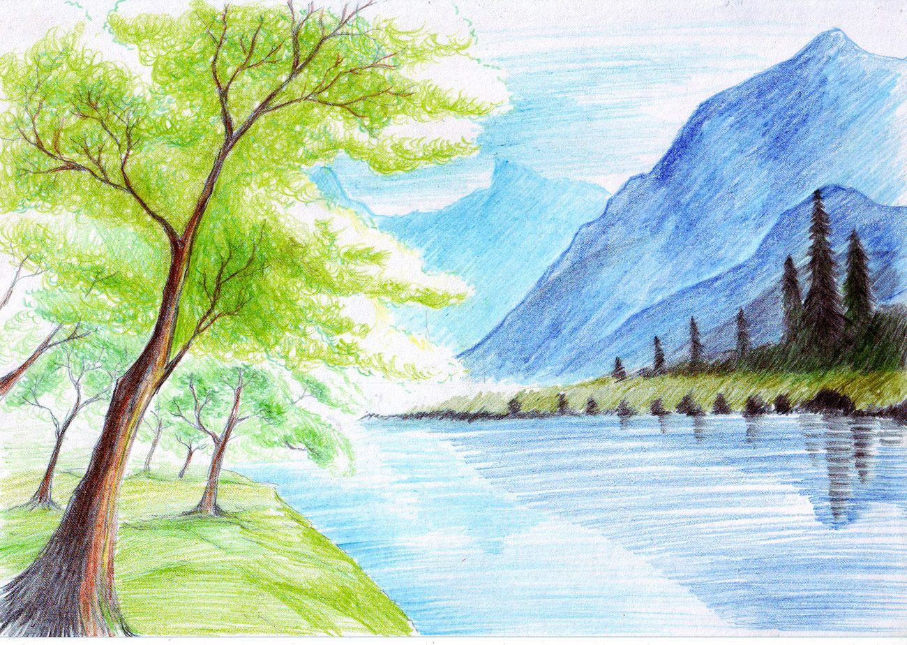 Landscape with color pencil landscape drawings color for Fish scenery drawing