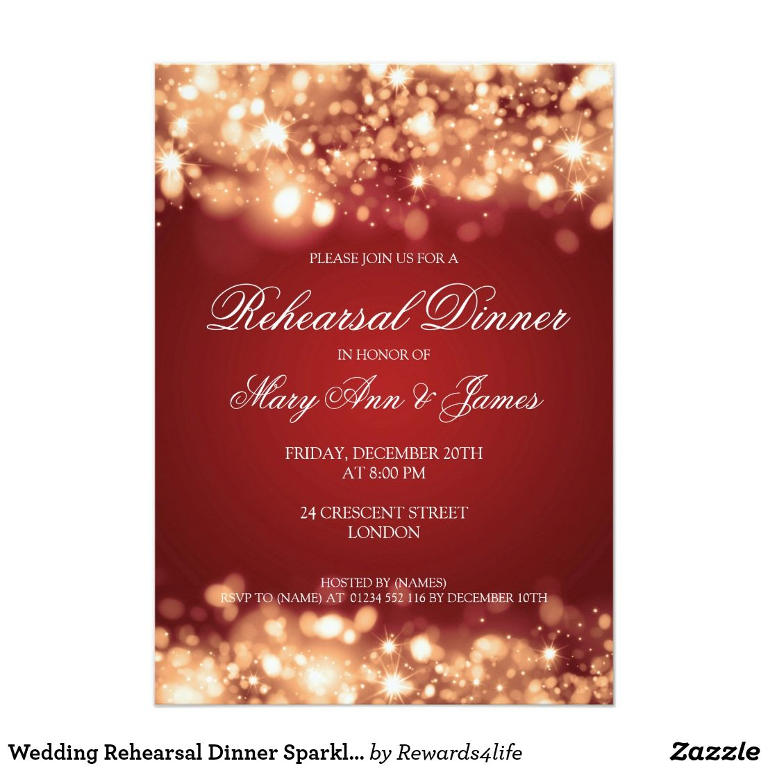 Wedding Rehearsal Dinner Sparkling Lights Gold Card | Rehearsal ...