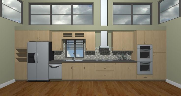 Straight Line Kitchen With Island, Prefabricated Kitchen Cabinets Arranged In Single Wall