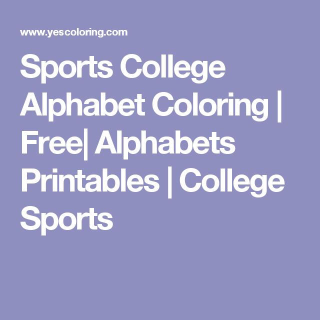 Sports College Alphabet Coloring