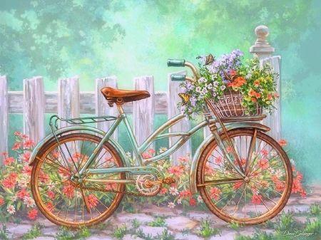 Vintage Bike Flowers Desktop Nexus Wallpapers Bicycle Painting Bicycle Art Painting