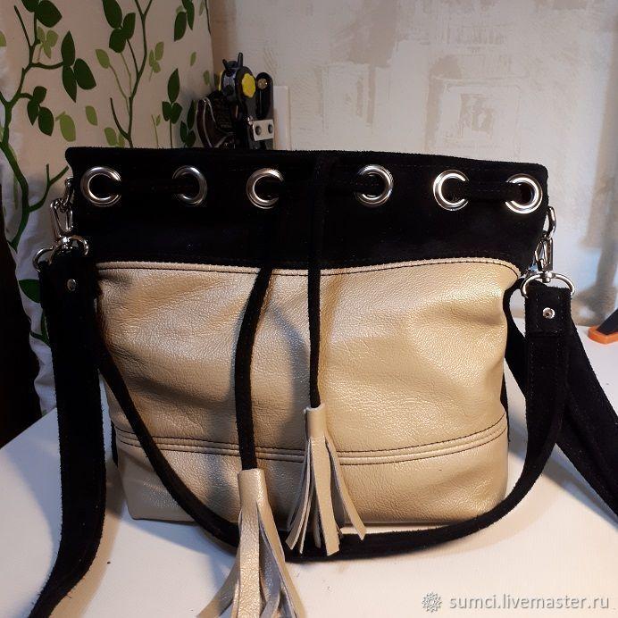 404552f05744 сумочка-мешок натуральная кожа+замша – купить в интернет-магазине на Ярмарке  Мастеров