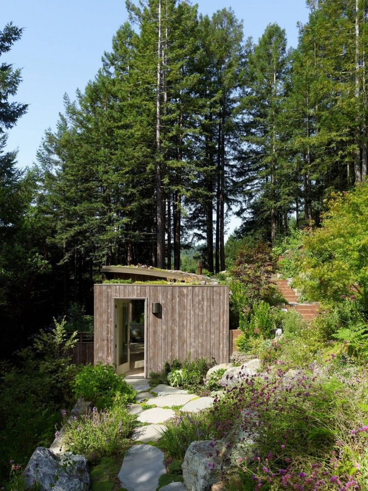 Mill Valley Cabins Feldman Architecture With Images House Built Into Hill Green Roof House Outdoor Sauna