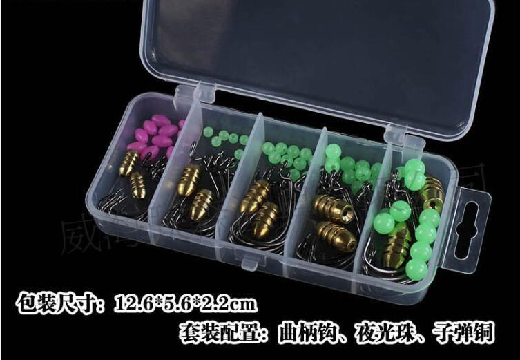 110pcs/box crank hook texas rig copper bullet sinker bead