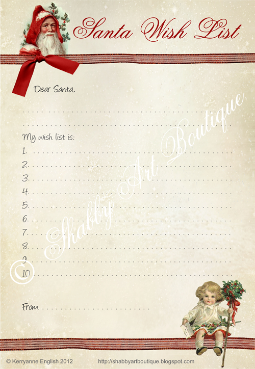 Shabby Art Boutique Santa Wish List printables
