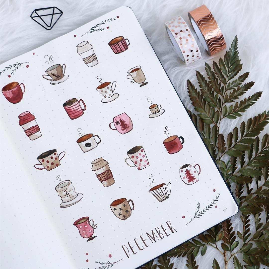 Coffee Inspired Bullet Journal Layouts | ElizabethJournals
