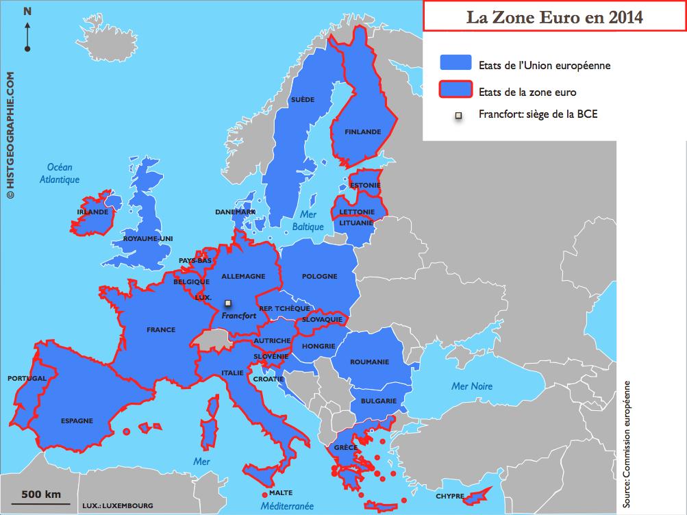 carte europe pays zone euro
