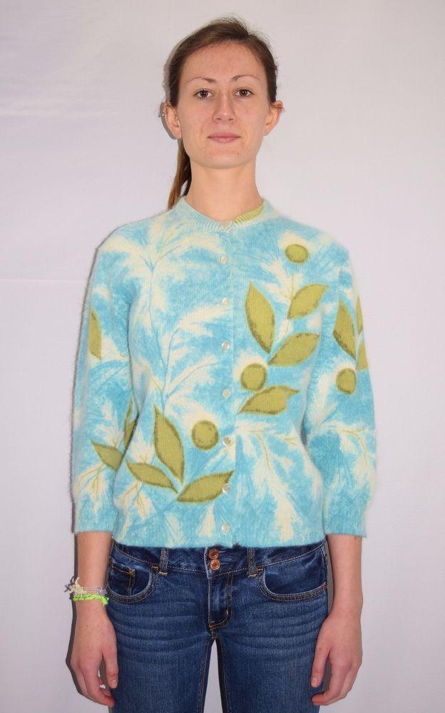 60/'s Sweater    60/'s Cream Acrylic Cardigan Sweater With Crewel Flowers