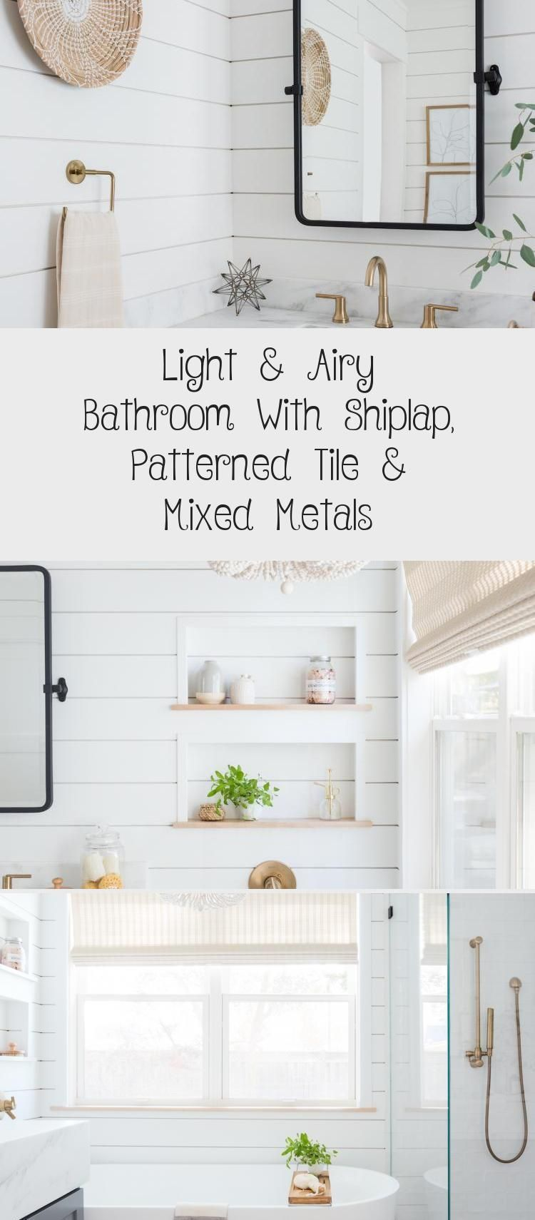 Photo of Bright and airy bathroom with shiplap, patterned tiles and mixed metals – decoration # a …
