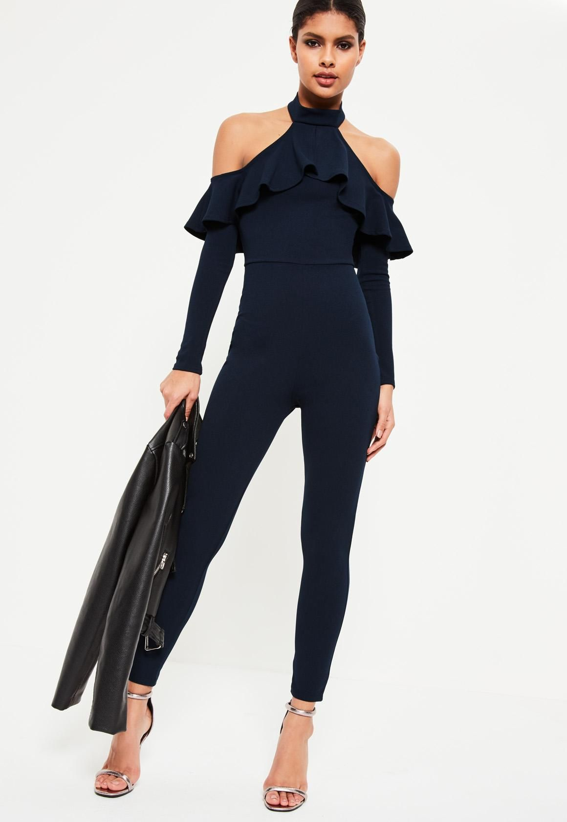 ad2f00b8d70 Missguided - Navy Halter Cold Shoulder Frill Jumpsuit