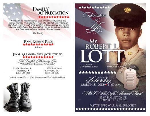 obituary designs | We also create Program Cover Designs ...