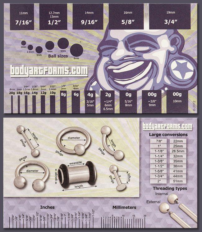 BAF gauge card | Plugs & Piercings | Pinterest | Gauges and Body ...
