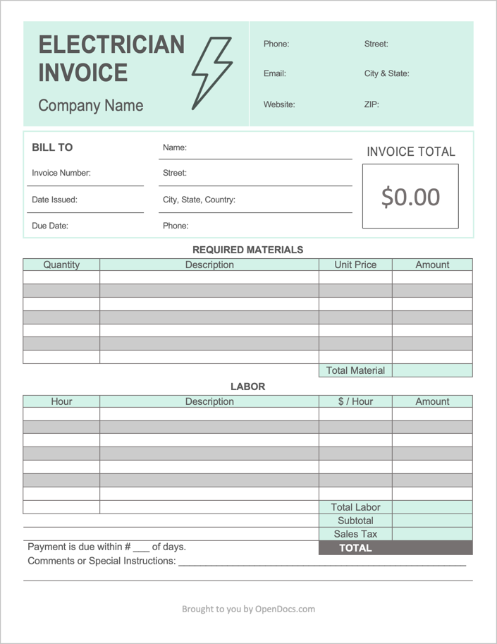 An Electrician Invoice provides part and fulltime