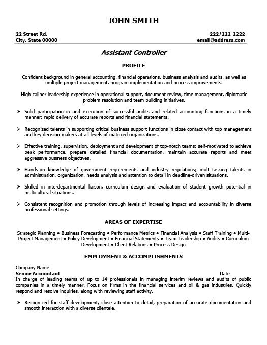 sample resume assistant controller template premium sles examples - controller sample resume