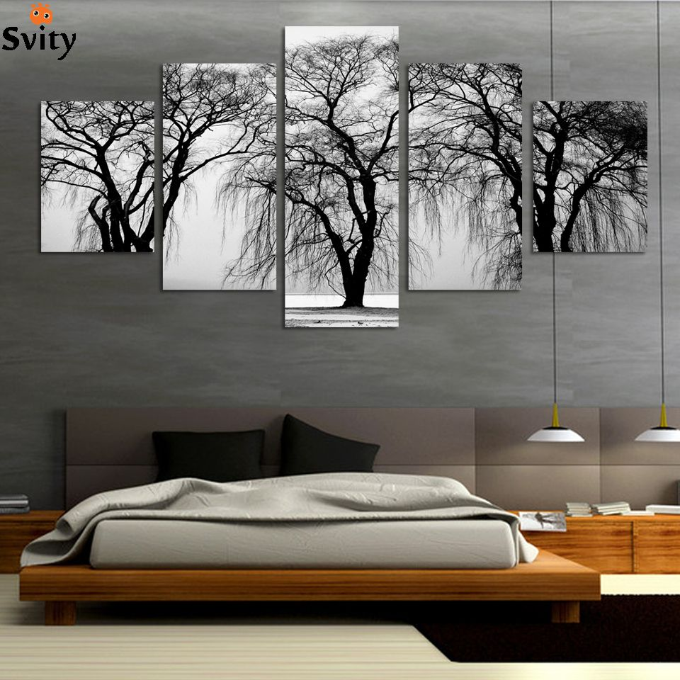 Fashion 5 Pcs Abstract Landscape Modern Oil Canvas Painting For Fair Living Room Paintings Design Ideas