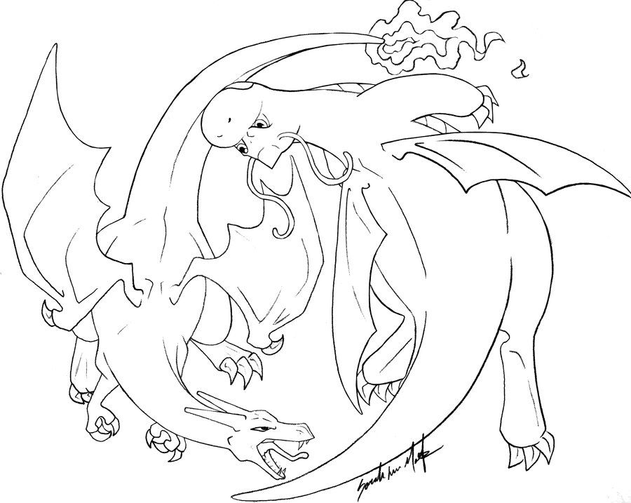 Charizard Vs Dragonite Lines By Therainedrop On Deviantart Pokemon Coloring Pages Pokemon Tattoo Pokemon Coloring