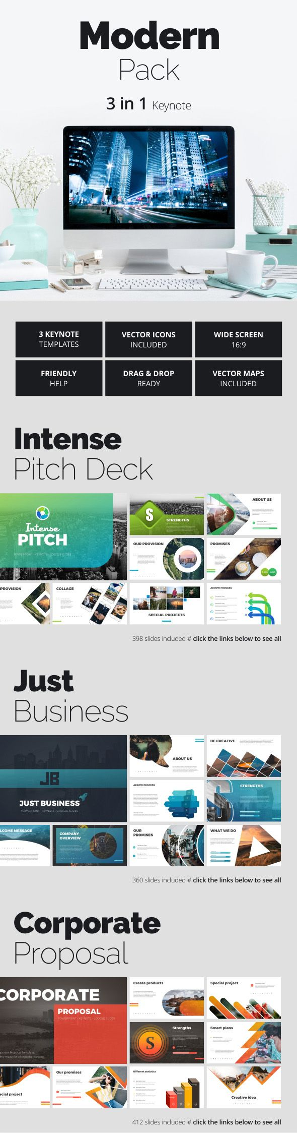 Modern Pack   Keynote, Template and Presentation templates