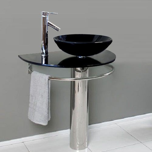 Bathroom Pedestal Tempered Black Glass Vessel Sink Vanity