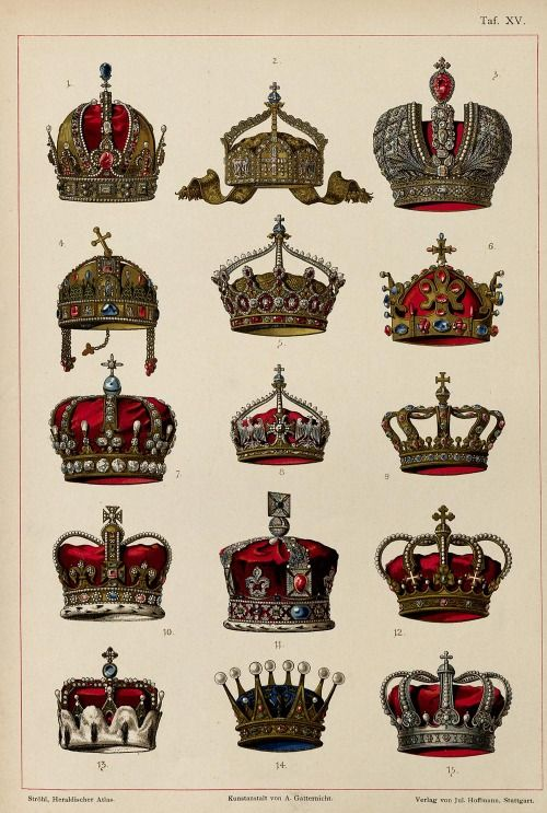 thefallentree:deutschemark:  1. Austrian Empire: Crown of Rudolf II, Holy Roman Emperor2. German Empire: German State Crown3. Russian Empire: Great Imperial Crown4. Kingdom of Hungary: Holy Crown of Saint Stephen5. German Empire: Crown of the German Empress6. Kingdom of Bohemia: Crown of St. Wenceslas7. Kingdom of Prussia: Crown of Wilhelm II8. German Empire: Crown of the Crown Prince9. Kingdom of Bavaria: Royal crown of Bavaria10. United Kingdom: Crown of St. Edward11. United Kingdom: Crown…