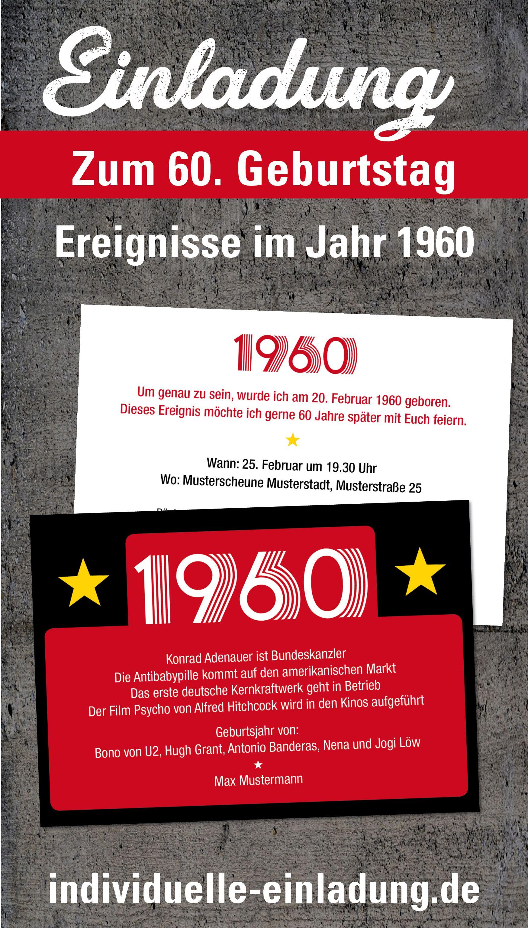 Einladung Zum 60 Geburtstag Jahrgang 1960 Ereignisse In 2020