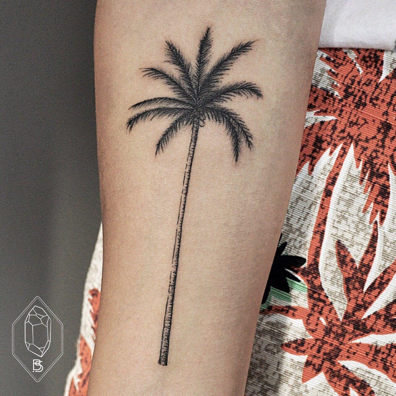 minimalistic palm Palm tattoos, Tree tattoo forearm