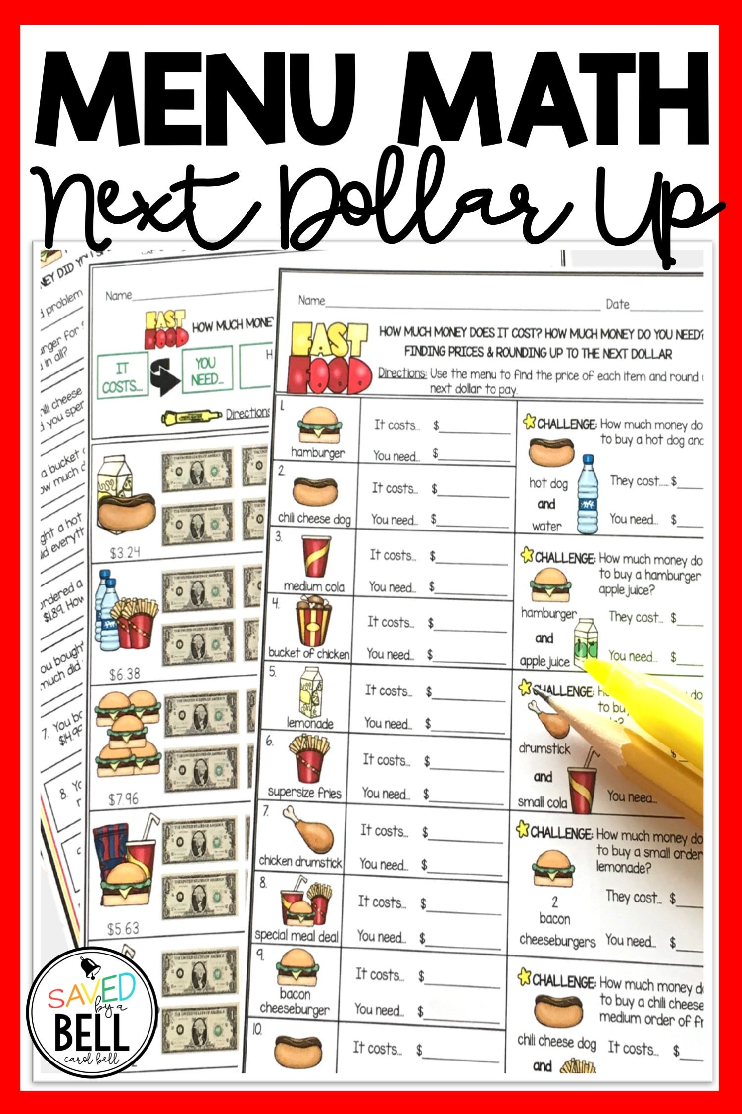 Next Dollar Up Worksheets And Word Problems Menu Math Distance Learning Math Printables Math Worksheets Printable Math Worksheets