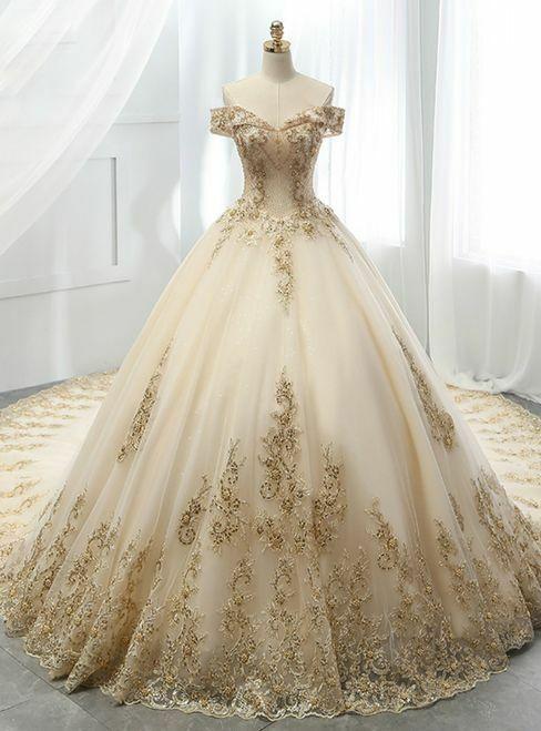 Ebay Ad Gold Applique Lace Organza Wedding Dresses Off Shoulder Bride Gowns Custom Size Lace Applique Wedding Dress Applique Wedding Dress Ball Dresses