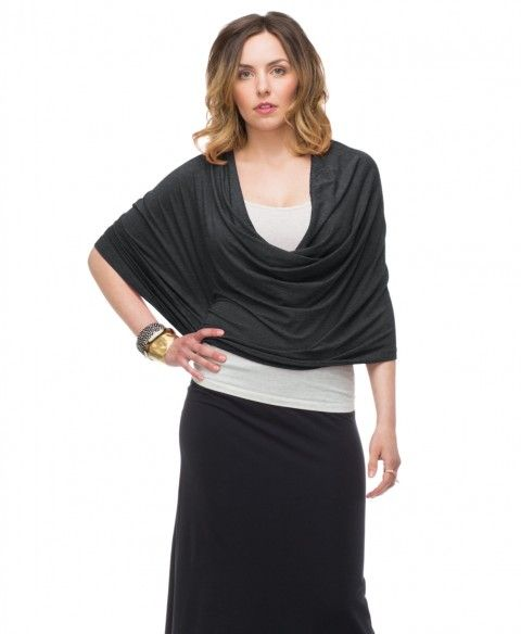 your ENDLESS SUMMER WRAP with drawstring - Heather Grey. Converts to infinity scarf, hood, wrap, skirt, etc.