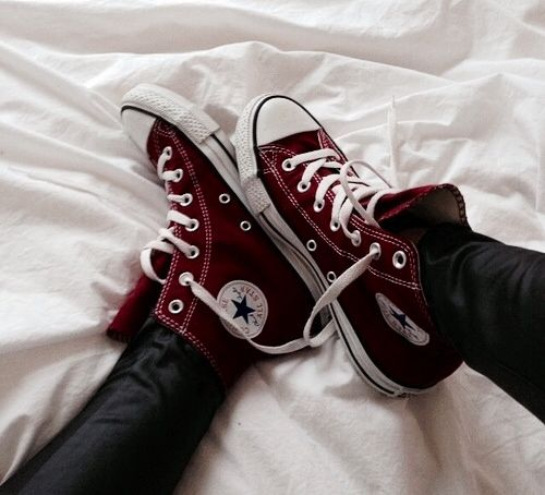 00f6c7953790b9 Just bought some burgundy high-top Converse and I ve been basically rabid  waiting for them to get here... -E