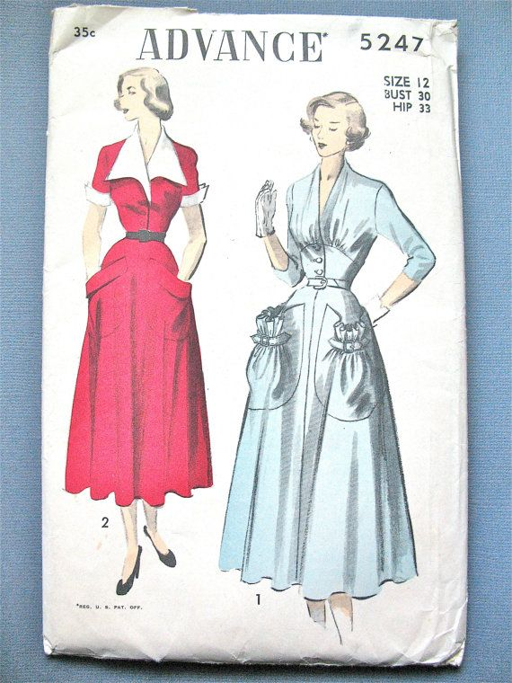 UNCUT 1950s Dress Pattern by Advance 5247 Vintage Sewing Fitted ...