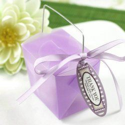 Shower and Wedding favor take out boxes, but in metallic silver with purple ribbon