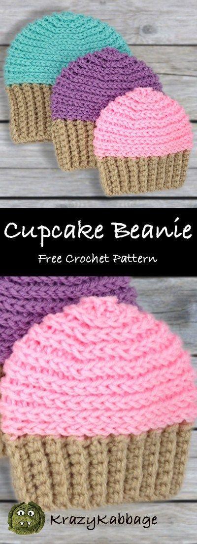 Cupcake Beanie Hat Free Häkelanleitung - Krazy Kabbage  #beanie #cupcake #hakelanleitung #kabbage #knitbeanie #krazy #beaniehats
