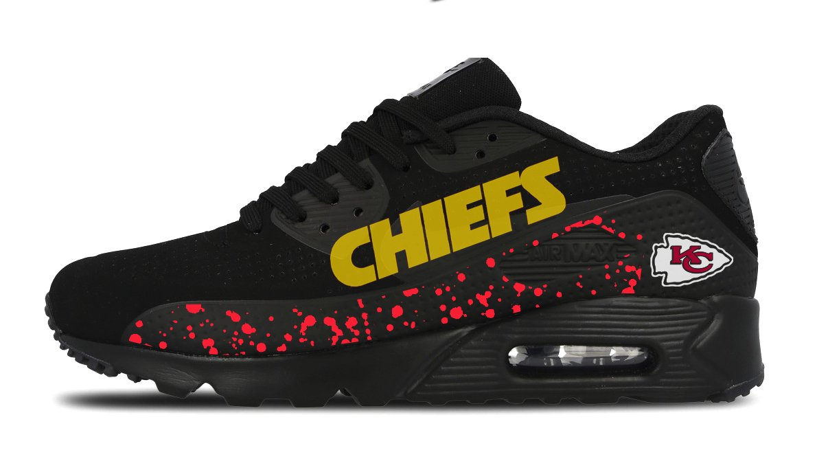 newest 1427f d141a Customized Kansas City Chiefs Nike Sneakers, Men s, Black