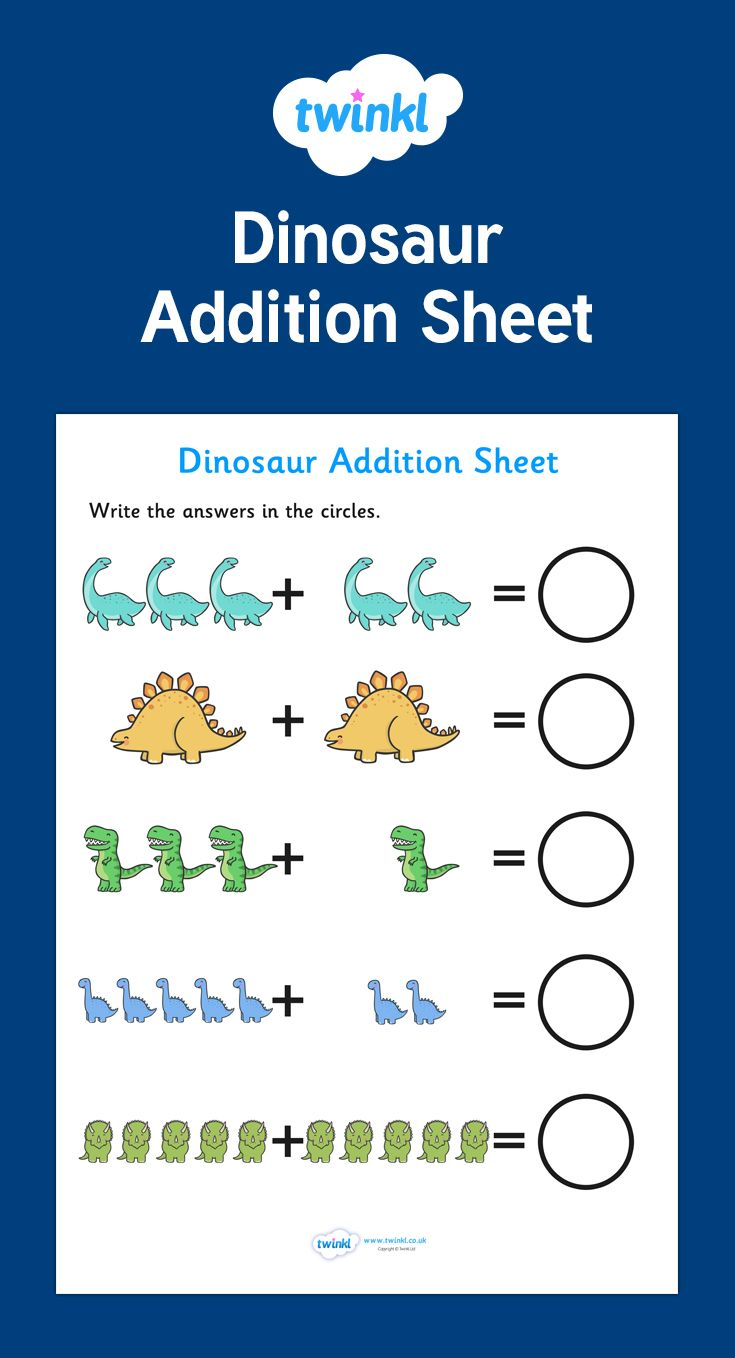 Dinosaur Addition Within 10 Worksheet Math Games For Kids Teaching Addition Basic Math