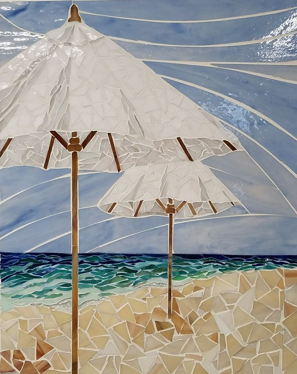 White Umbrellas On Beach Mosaic Art Beach Umbrellas Glass Mosaic 16 X20 Lucy Designs Art Glass Mosaic Art Mosaic Glass Mosaic Art