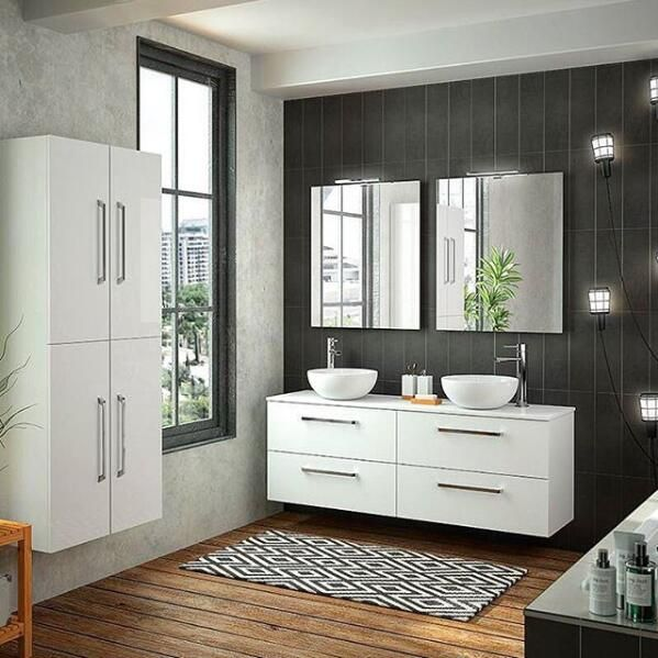 60inch double basin vanity cabinet white color bathroom cabinet