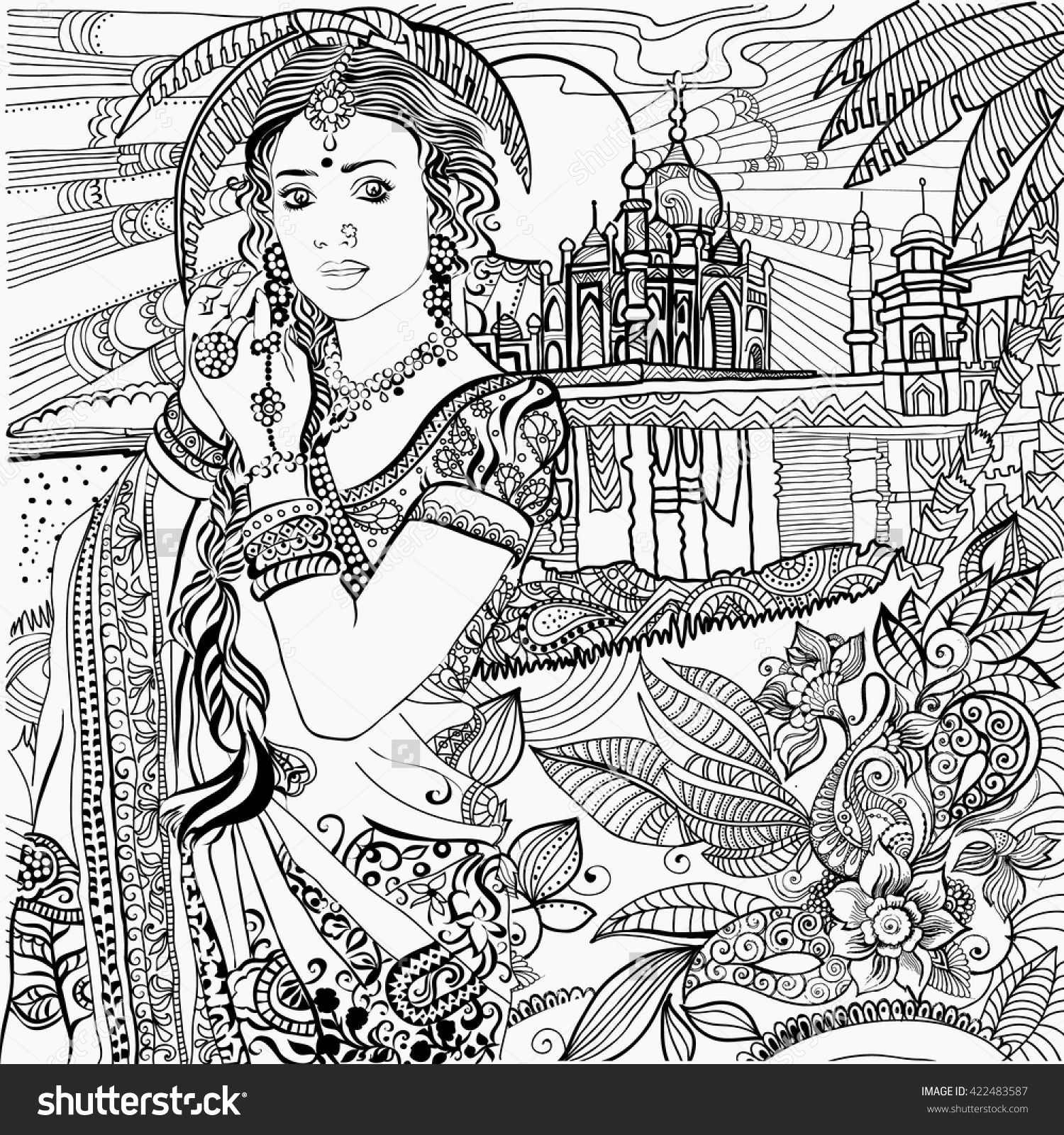 Indian Woman Coloring Page Coloring Pages People Coloring Pages