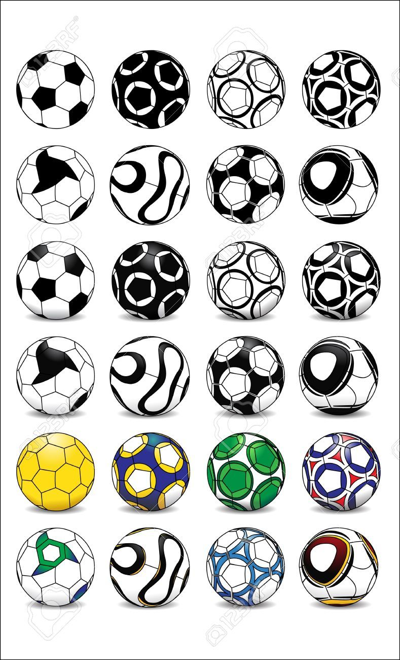 Different Football Soccer Ball Designs In Black And White Shaded Soccer Ball Soccer Football Soccer