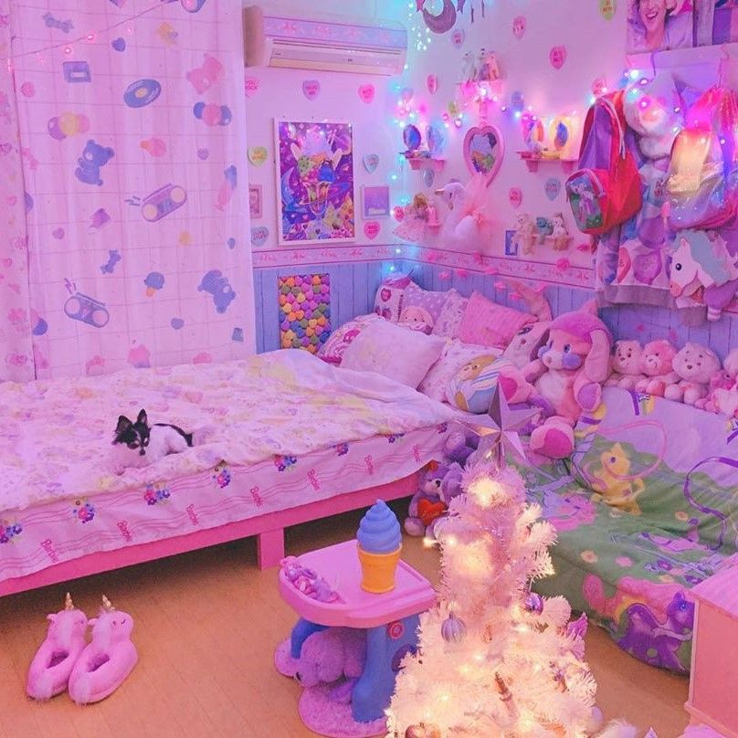 Waking Up In A Room This Dreamy Is Like Being Transported To Harajuku The Pastel Color Scheme Cute Colorful Room Decor Pastel Room Decor Kawaii Room