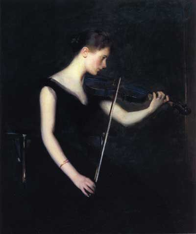 Girl with violin (c. 1890), Edmund Charles Tarbell (1862-1938), USA