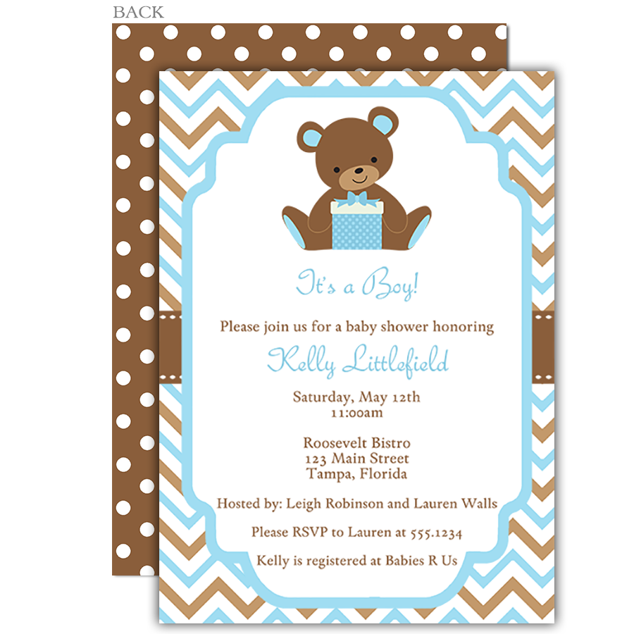 Chevron Teddy Bear Blue Baby Shower Invitation | Shower ...