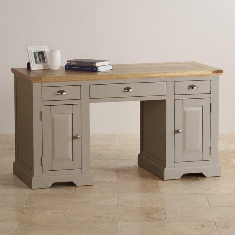 St Ives Natural Oak And Light Grey Painted Computer Desk Grey Wooden Desk Home Office Furniture Desk Grey Desk