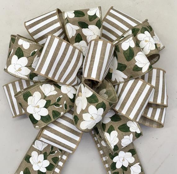 Photo of Free shipping – Magnolia wreath bow, magnolia on nature, summer bow, large quality bow, lantern Bo
