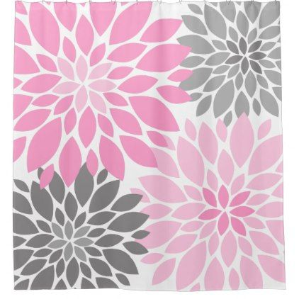 #floral - #Pink and Gray Chrysanthemums Floral Pattern Shower Curtain